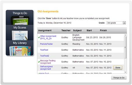 student help for thinkcentral the assignment details page