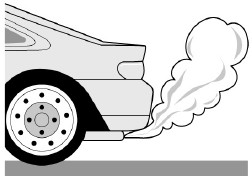 The rear of a car, with smoke coming out of its exhaust pipe.